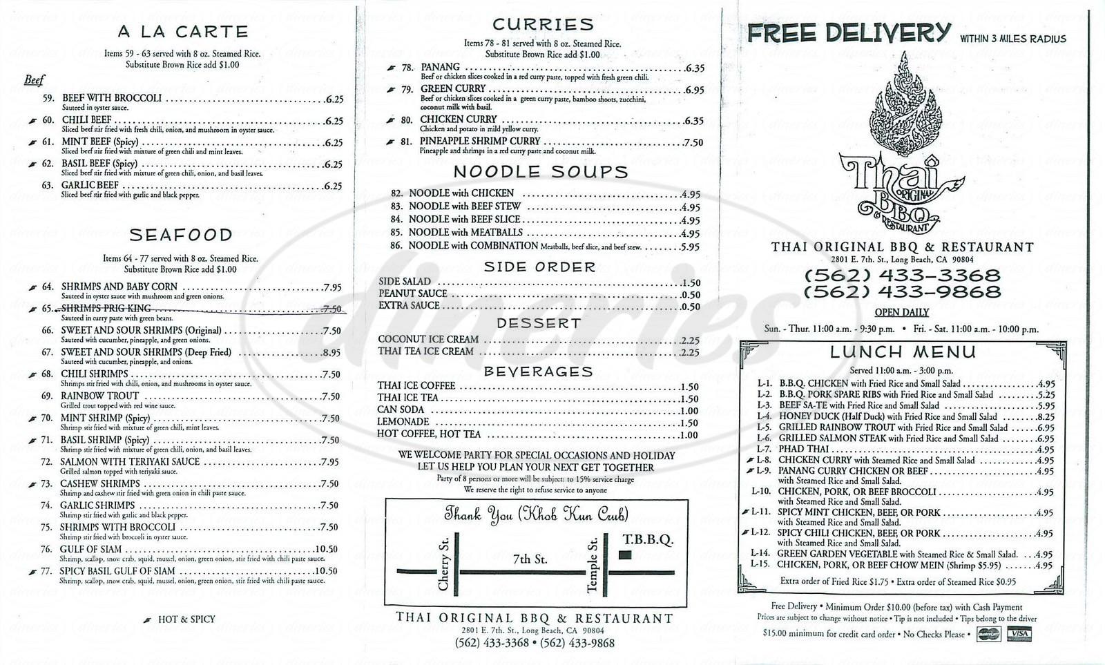 menu for Thai Original BBQ