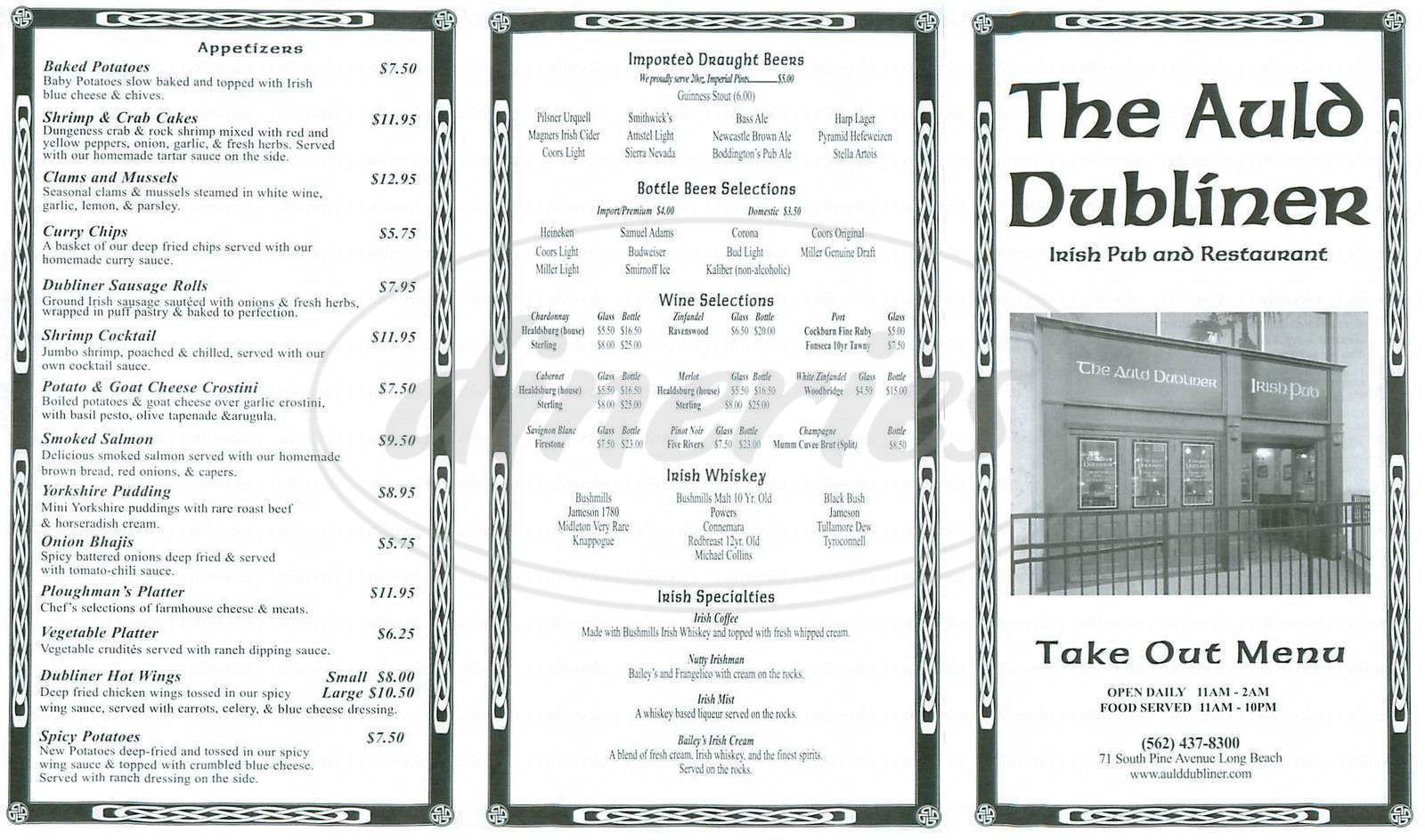 menu for The Auld Dubliner