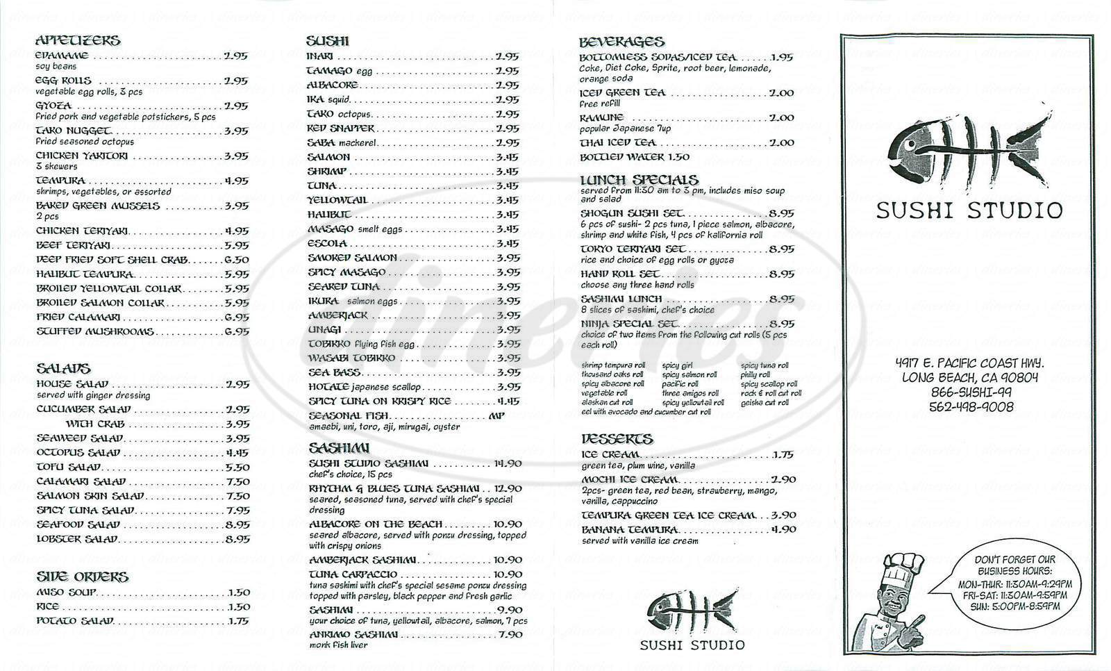 menu for Sushi Studio