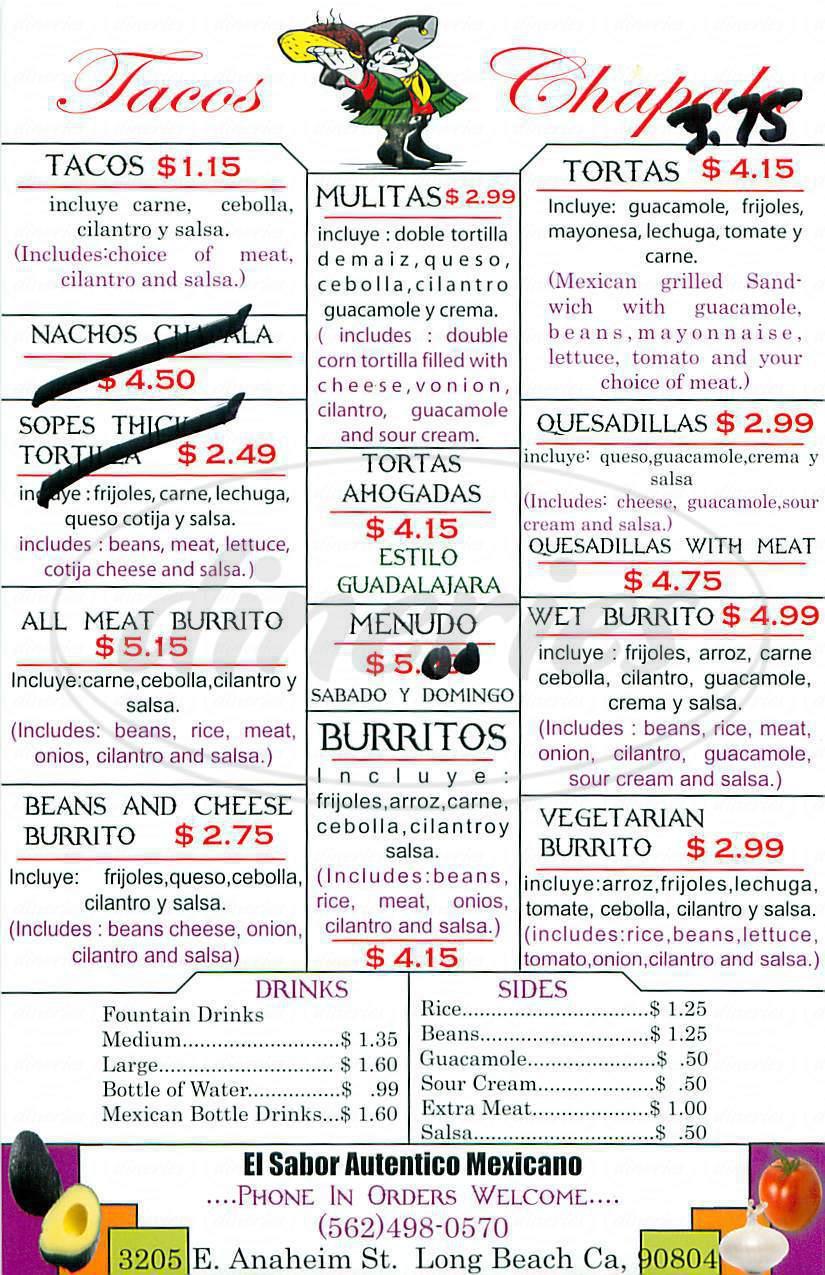 menu for Tacos Chapala