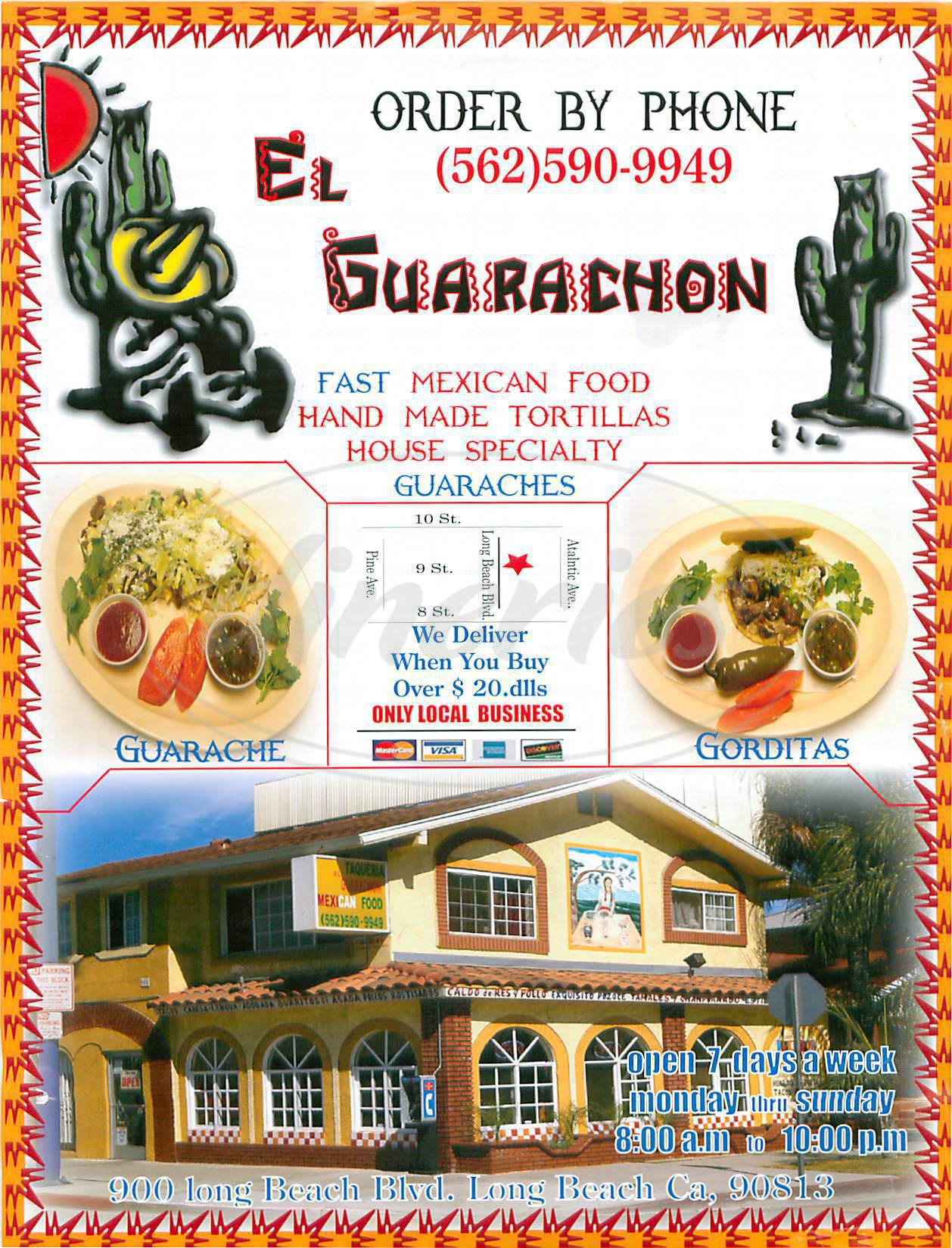 menu for Taqueria el Guarachon