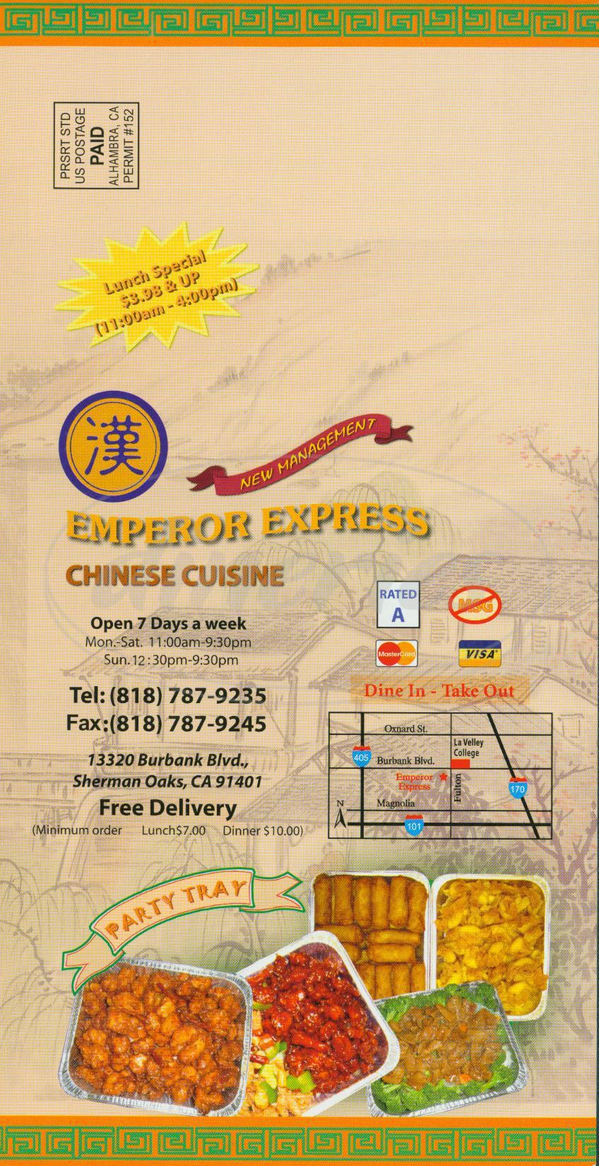 menu for Emperor Express
