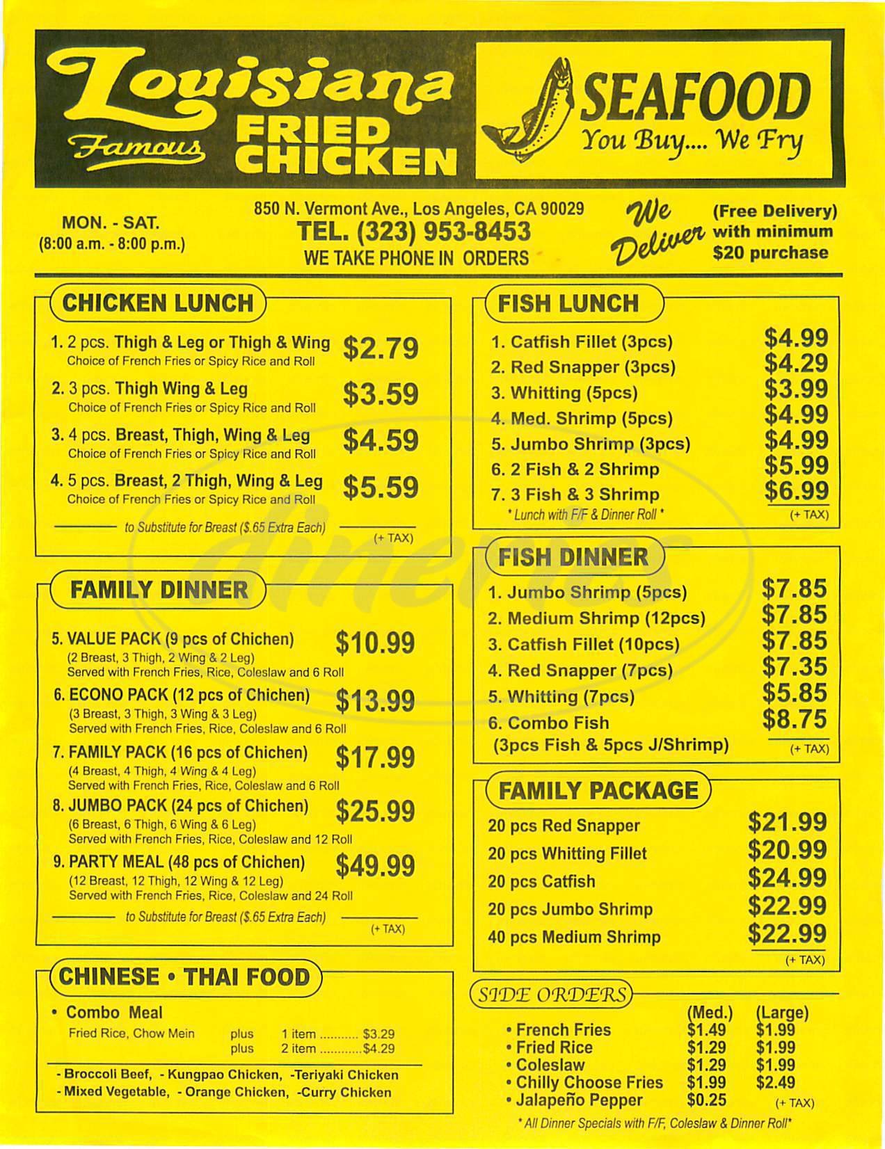 menu for Louisiana Famous Fried Chicken
