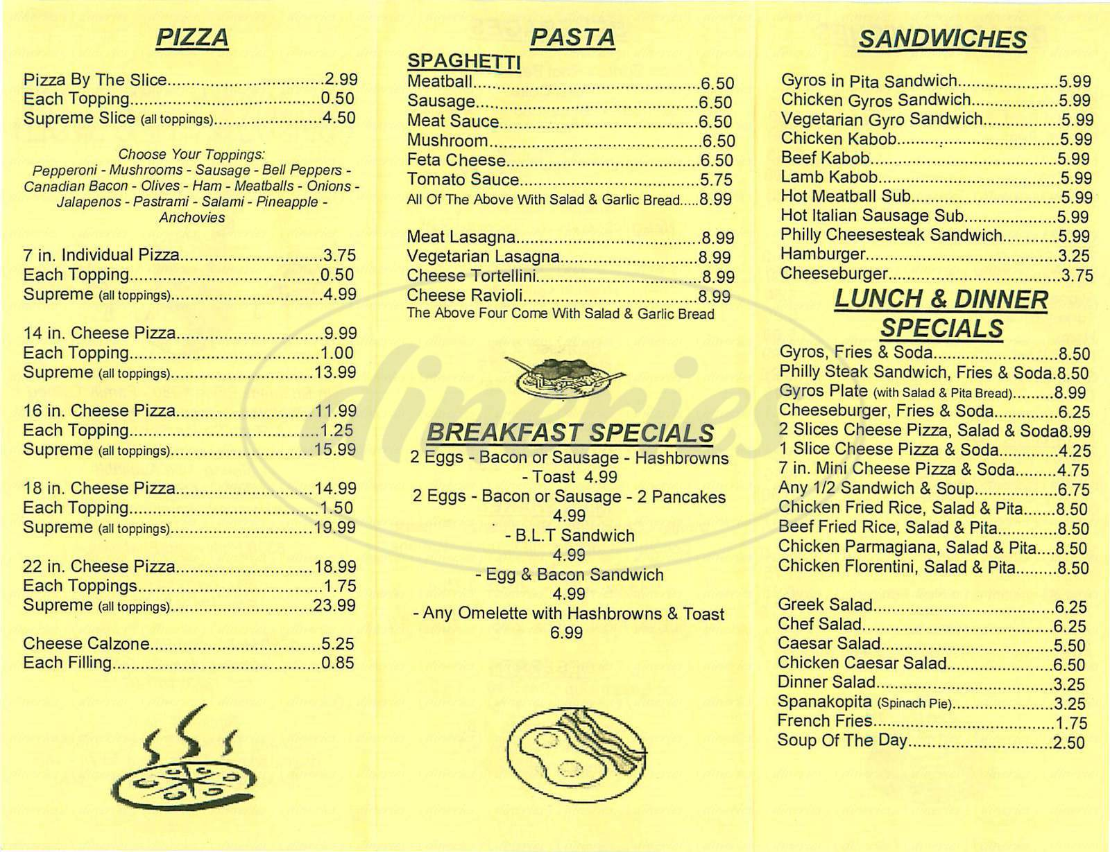 menu for Combos NY Pizza & Deli