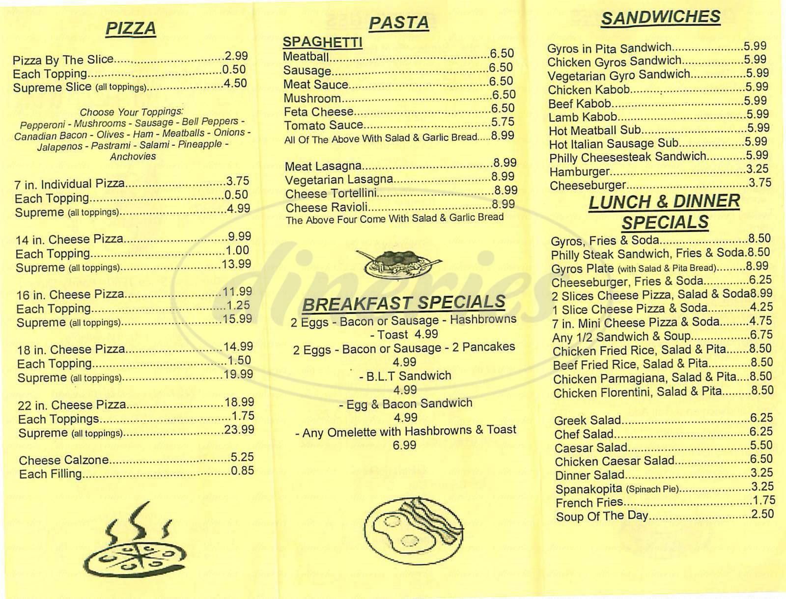 menu for Combos NY Pizza & Deli