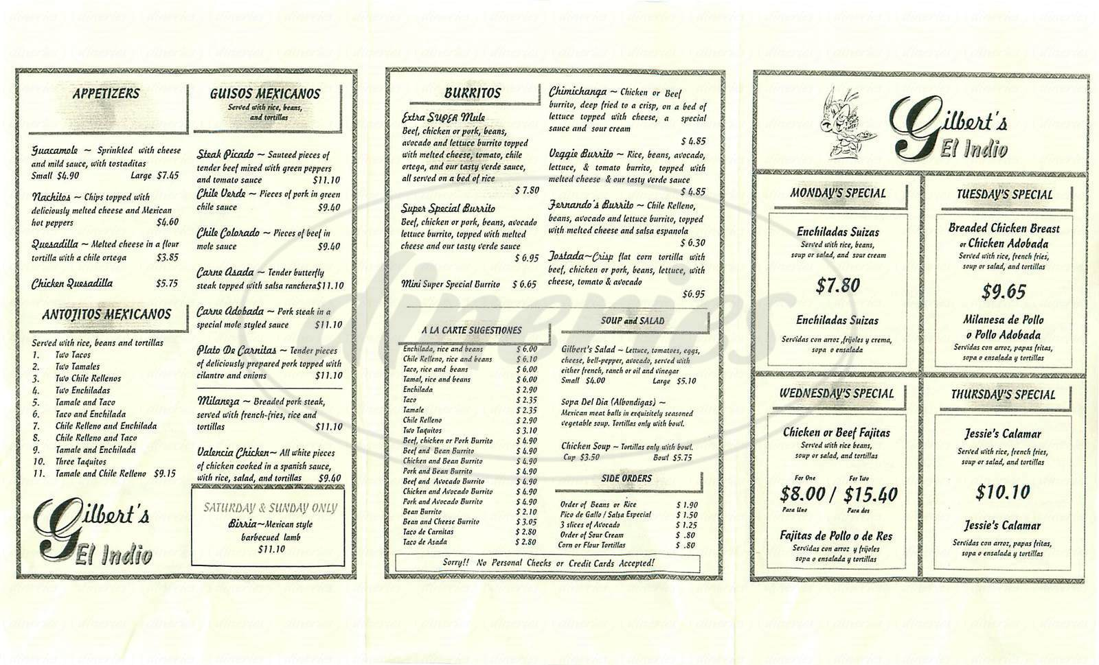 menu for Gilbert's El Indio