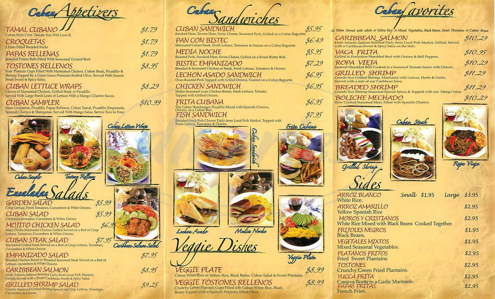 menu for Cuba Central