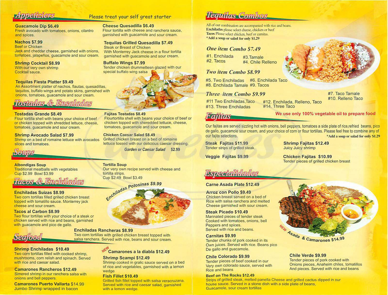 menu for Tequilas Restaurant