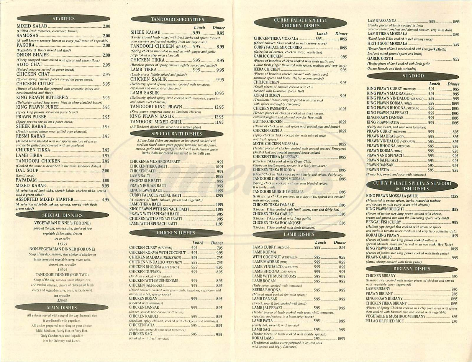 menu for Curry Palace Indian Restaurant