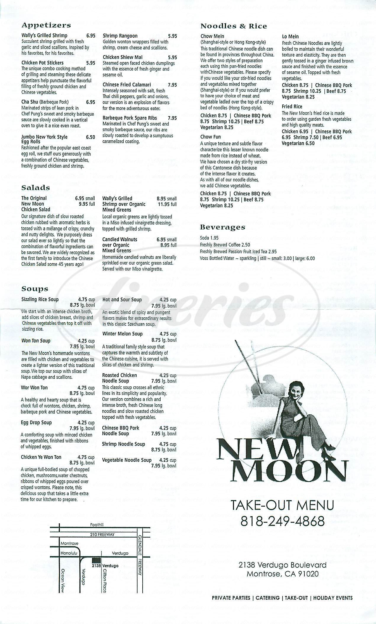 menu for New Moon Restaurant