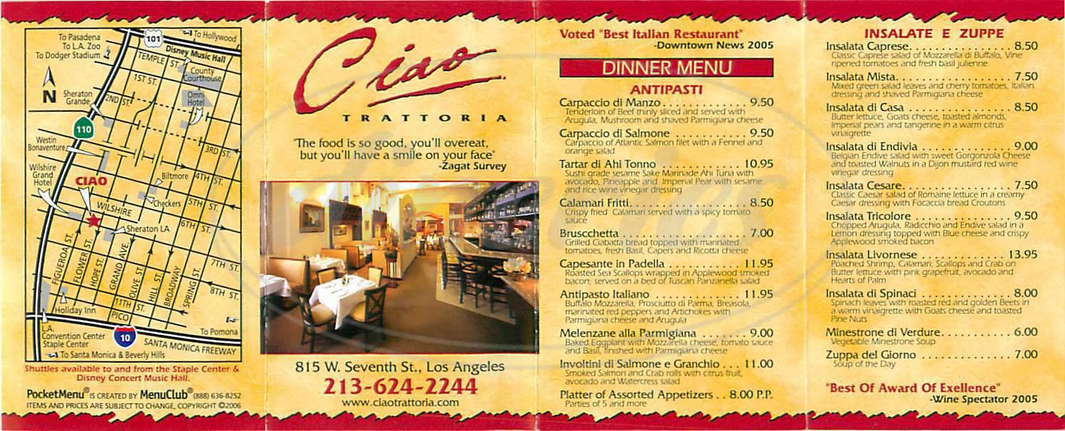 menu for Ciao Trattoria