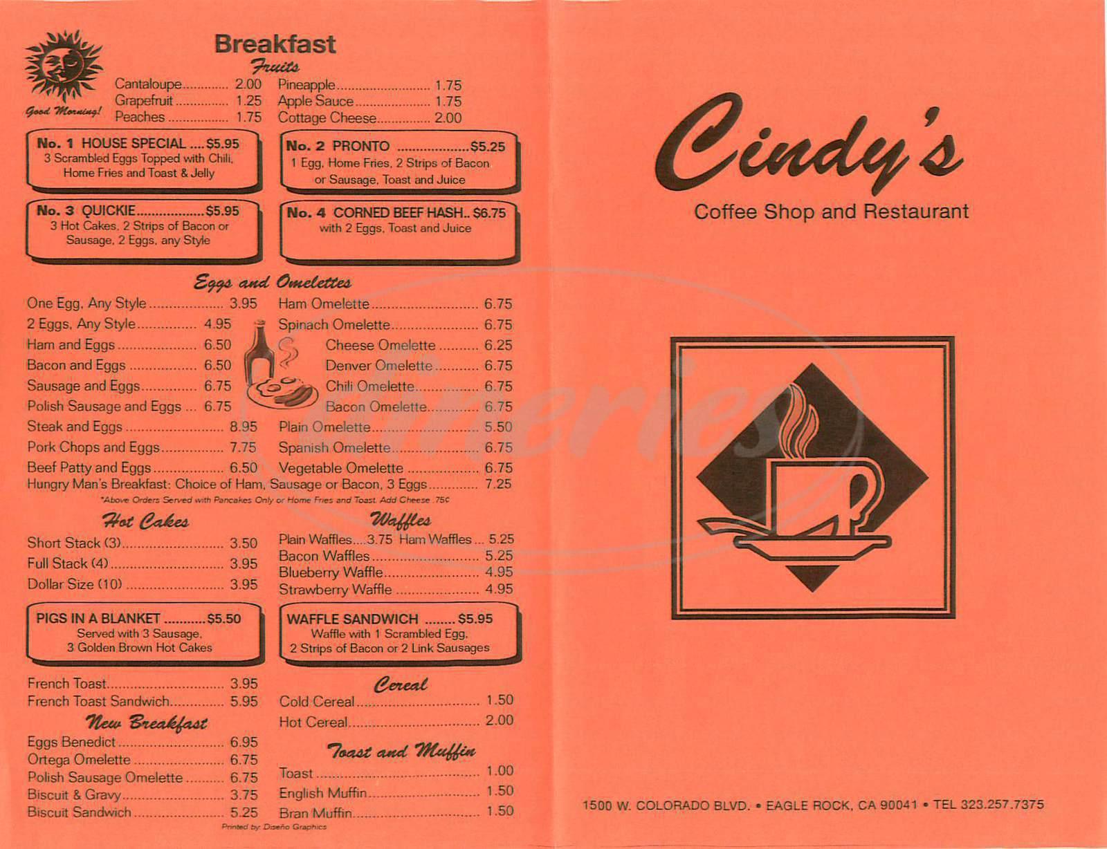 menu for Cindys Coffee Shop