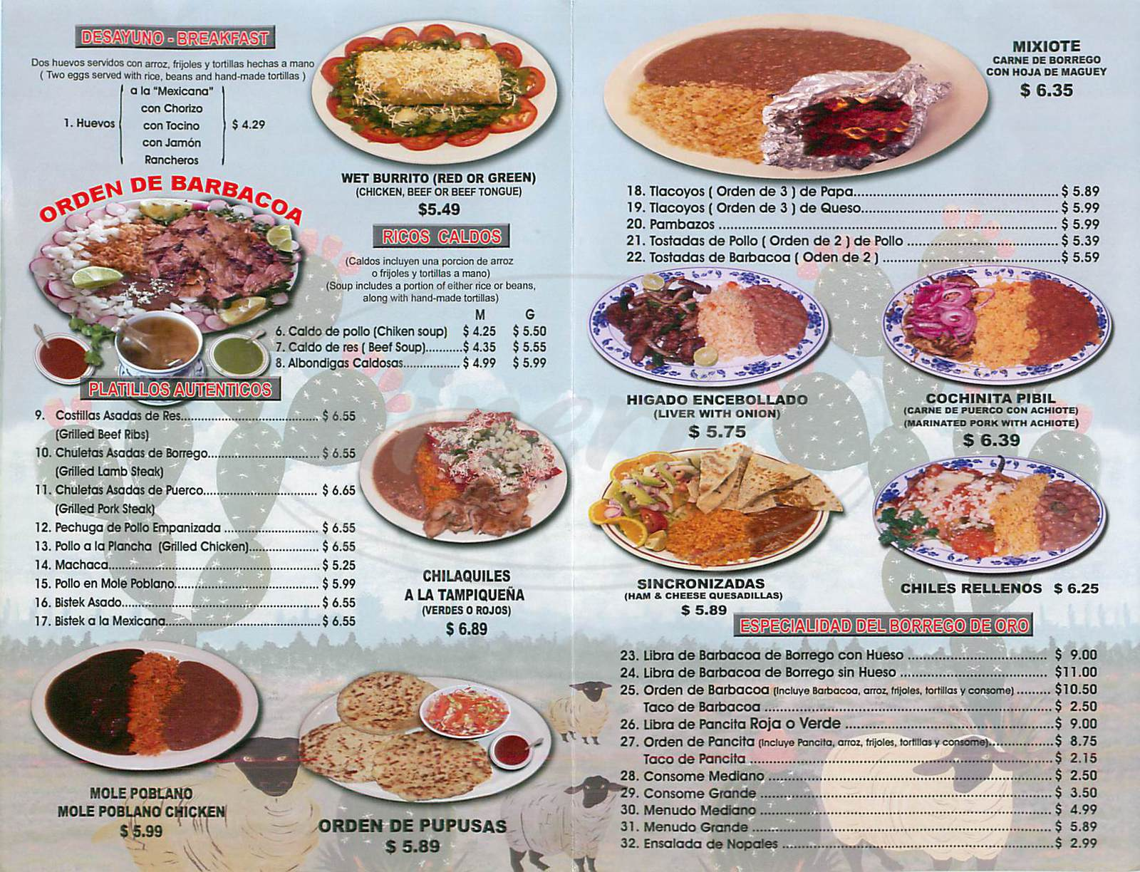 menu for El Borrego de Oro