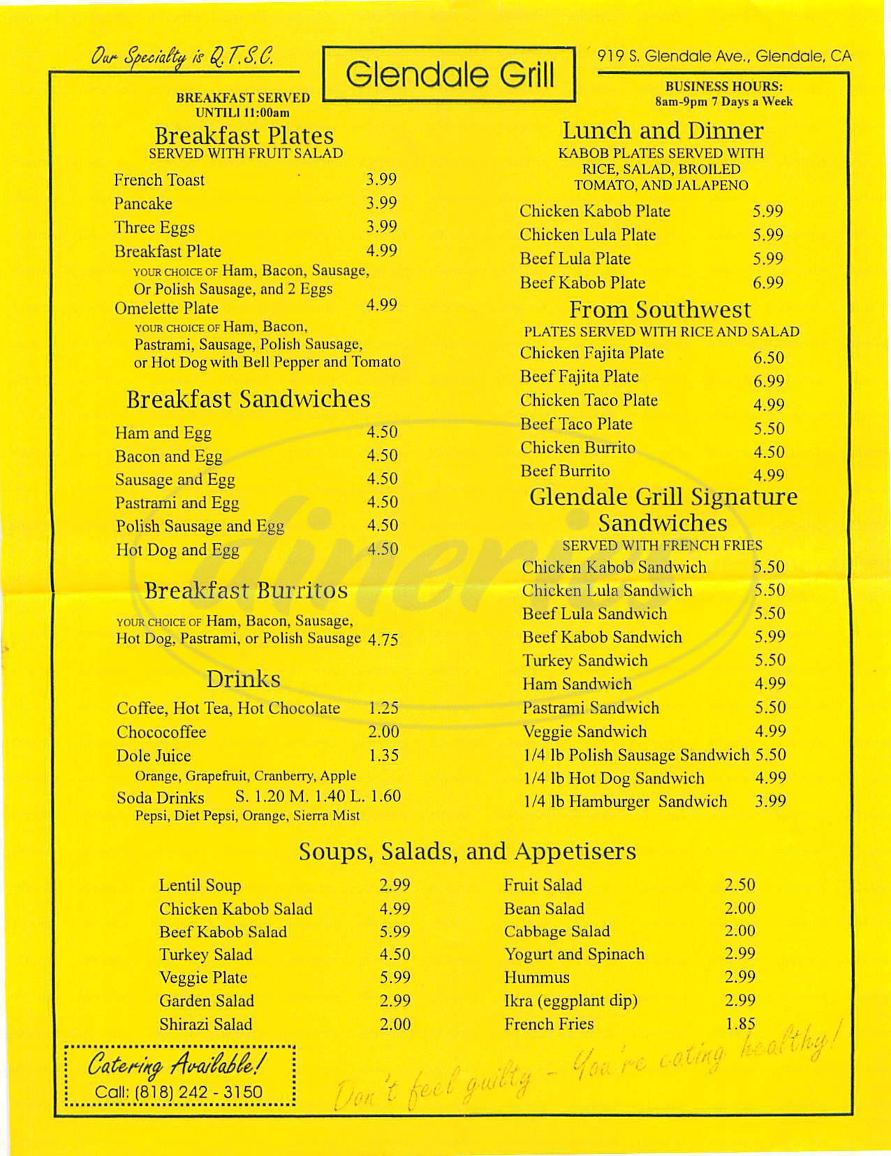 menu for Glendale Grill
