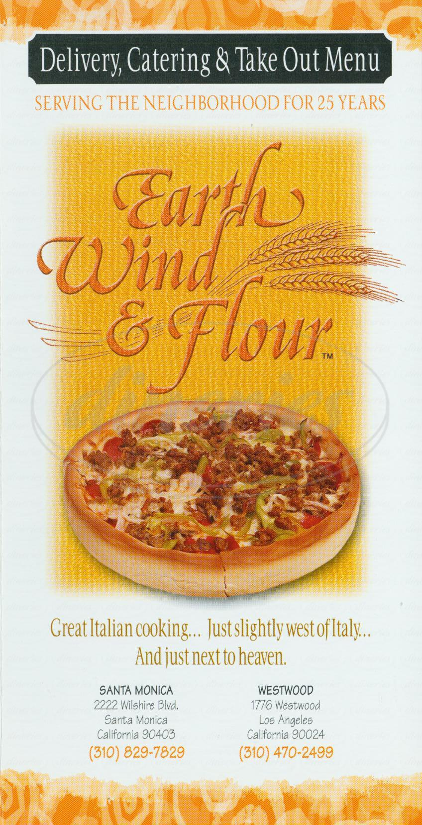 menu for Earth Wind & Flour