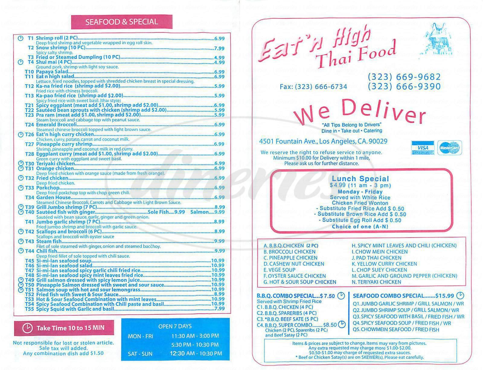 menu for Eat'n High Thai Food Restaurant