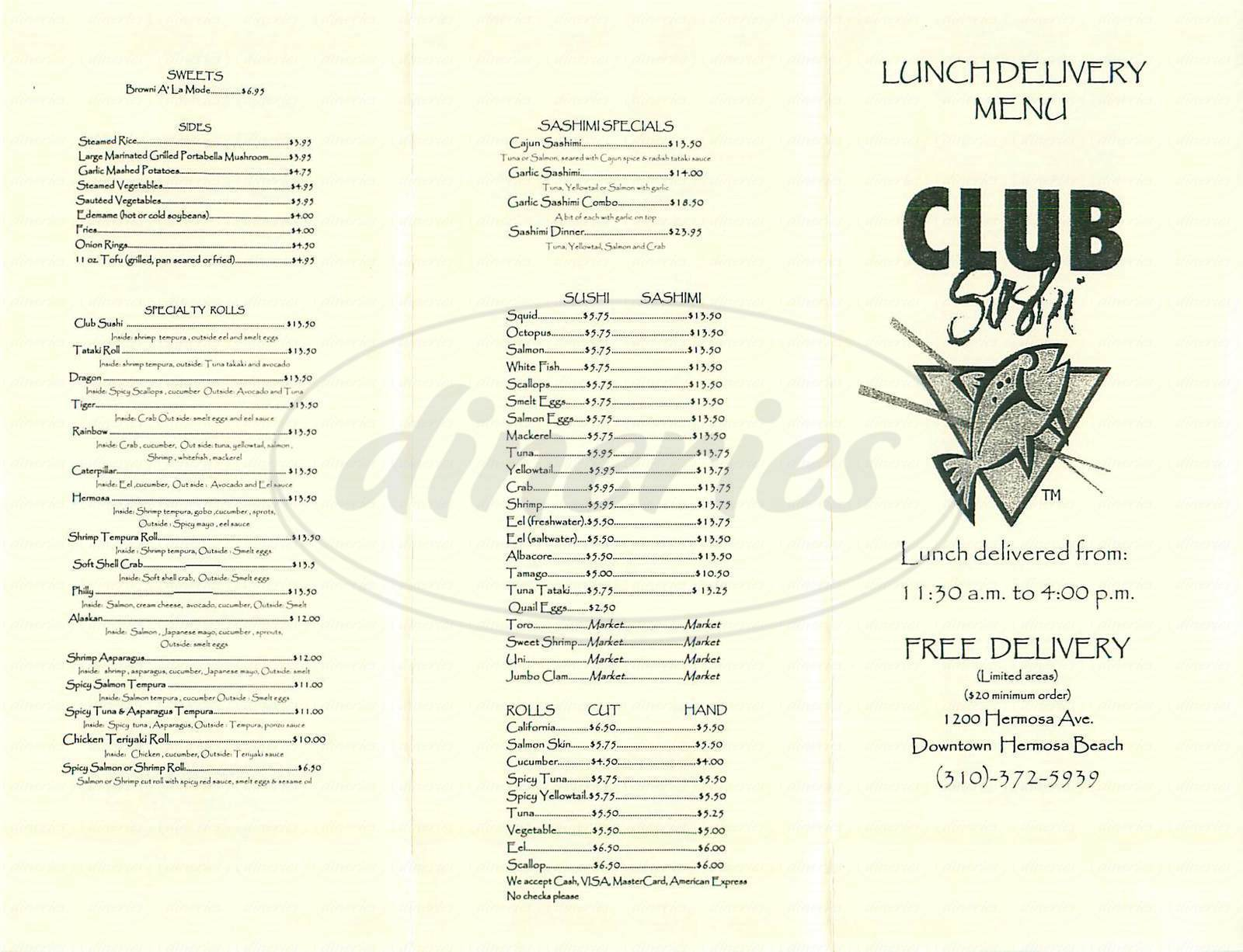 menu for Club Sushi