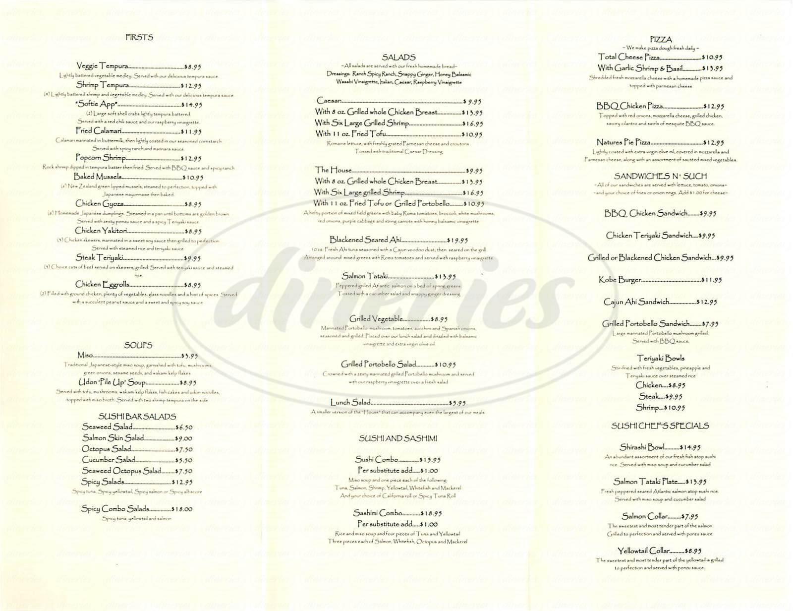menu for Club Sushi