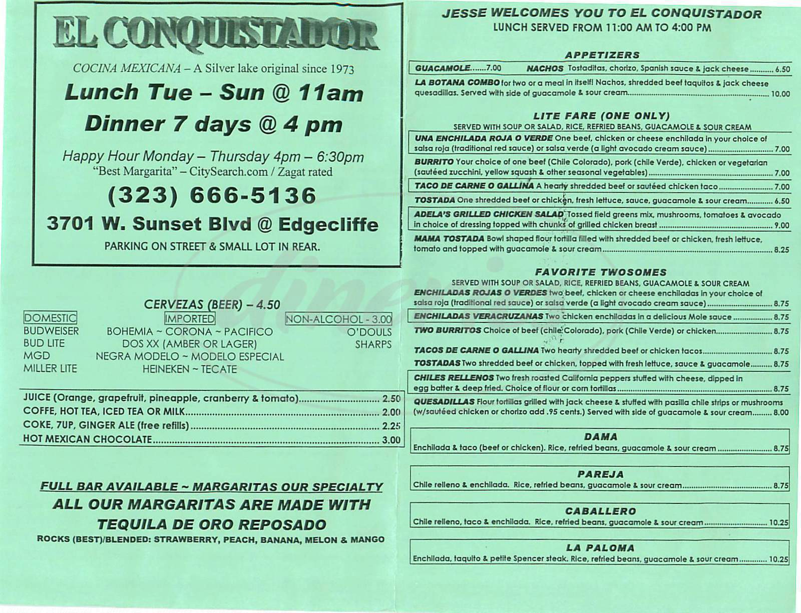 menu for El Conquistador