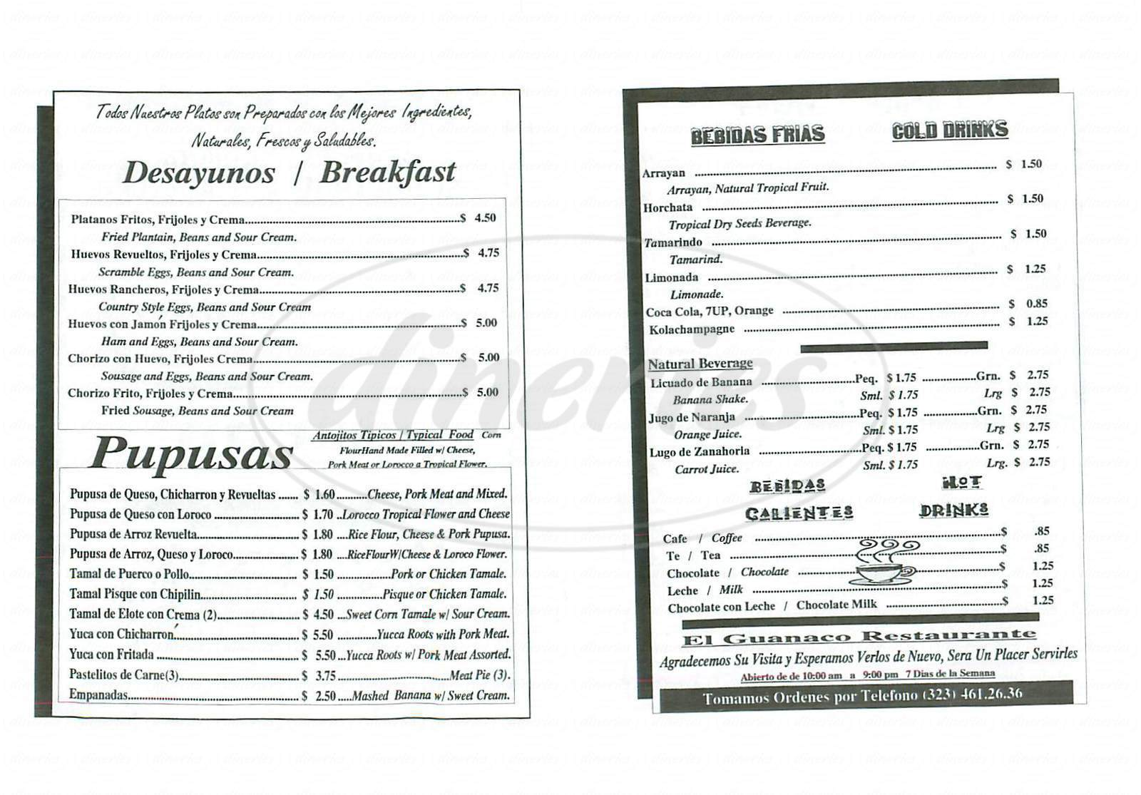 menu for El Guanaco Restaurant
