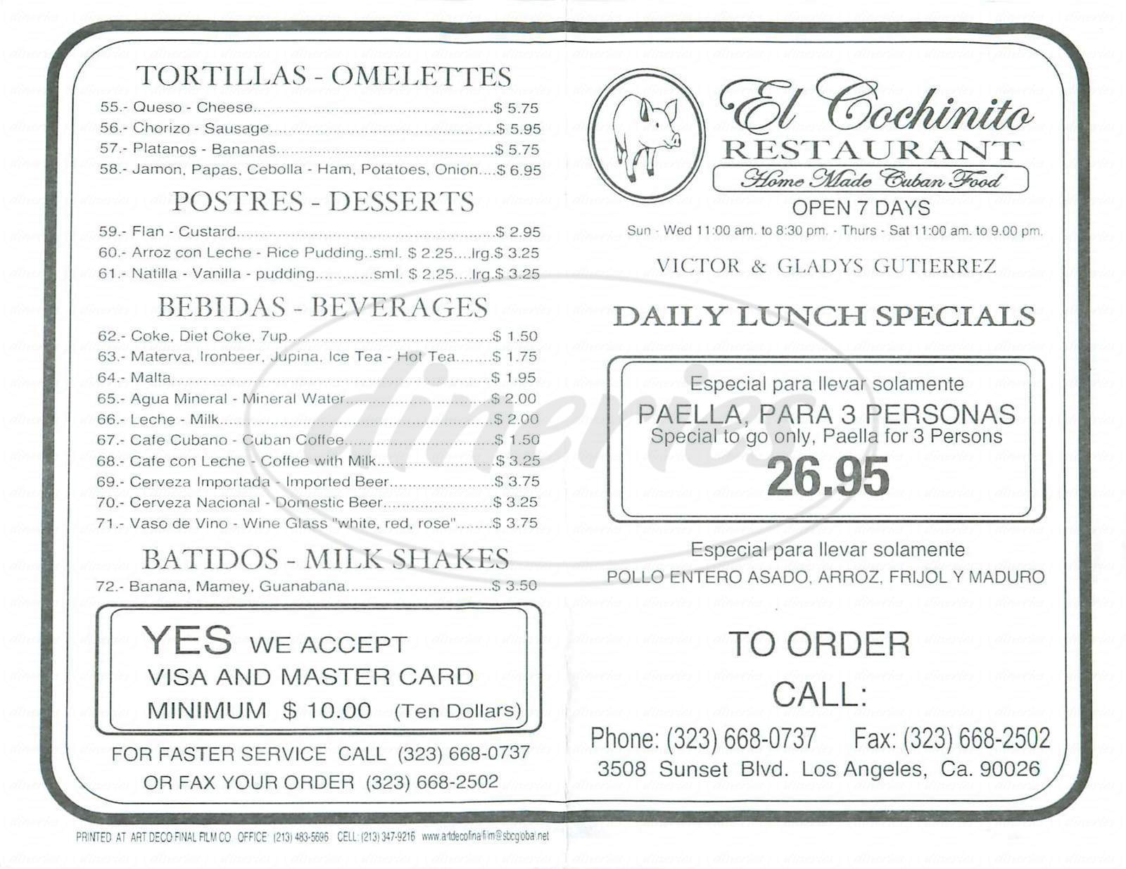 menu for El Cochinito Restaurant