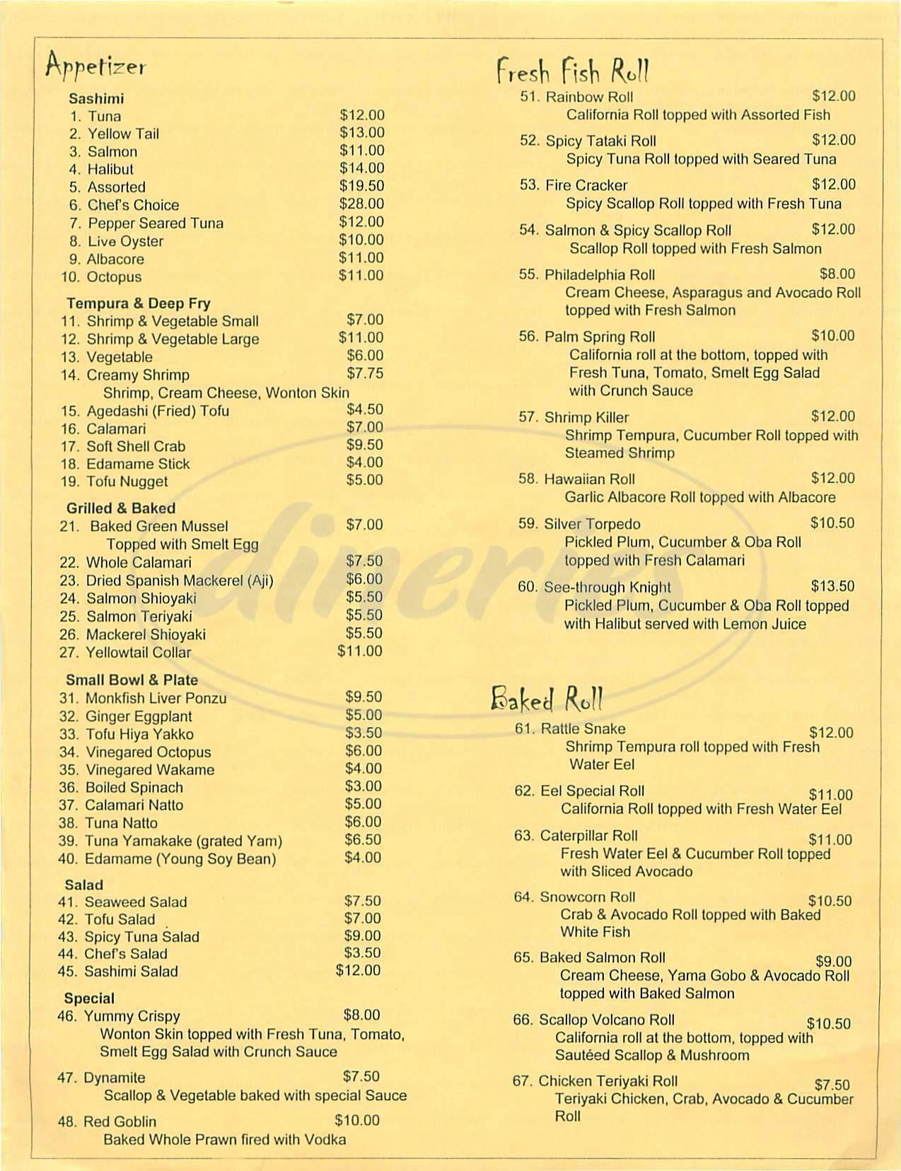 menu for Sushi Casa Arigato