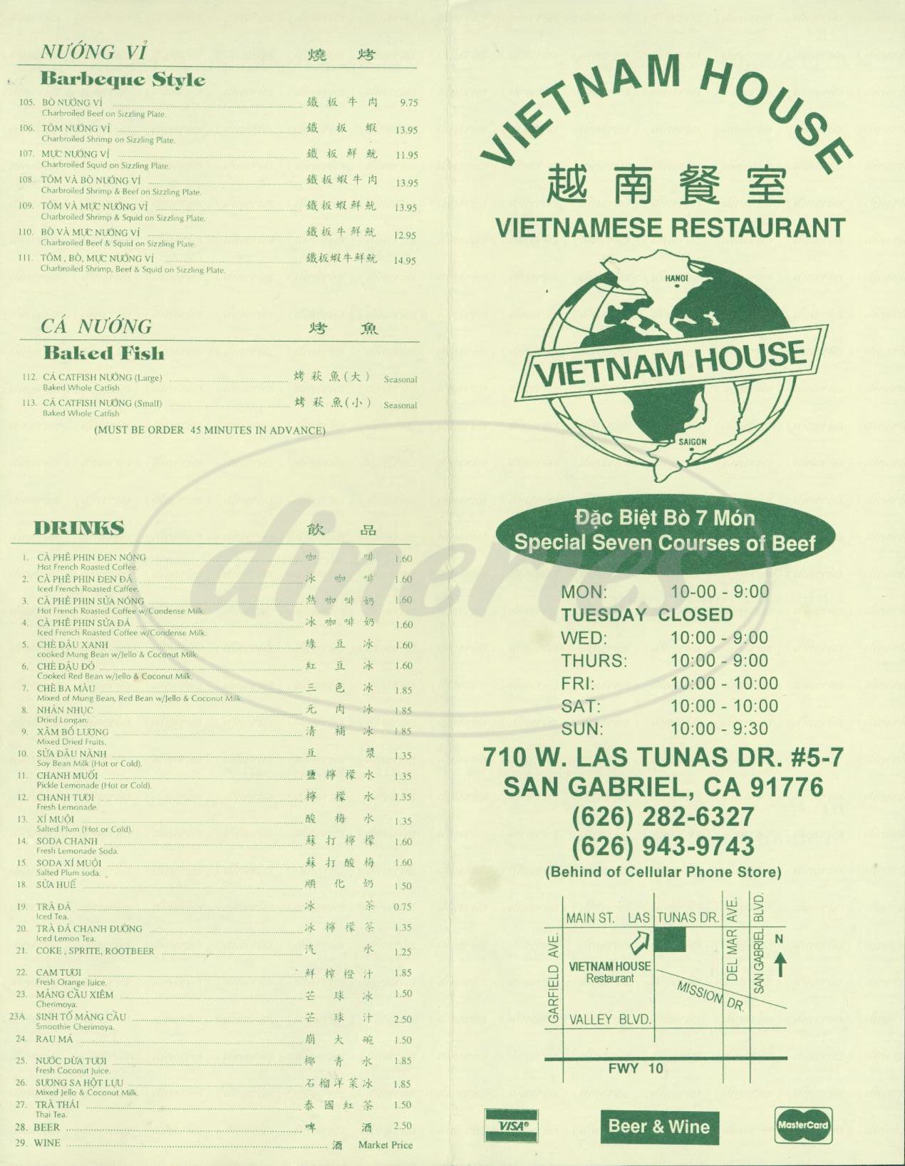 menu for Vietnam House