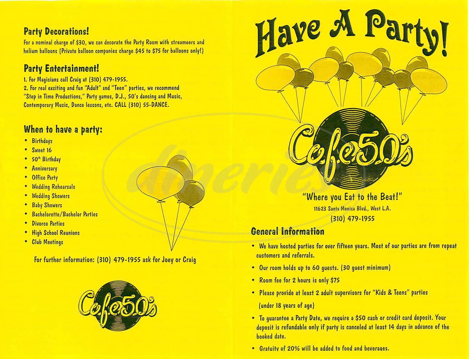 menu for Café 50s