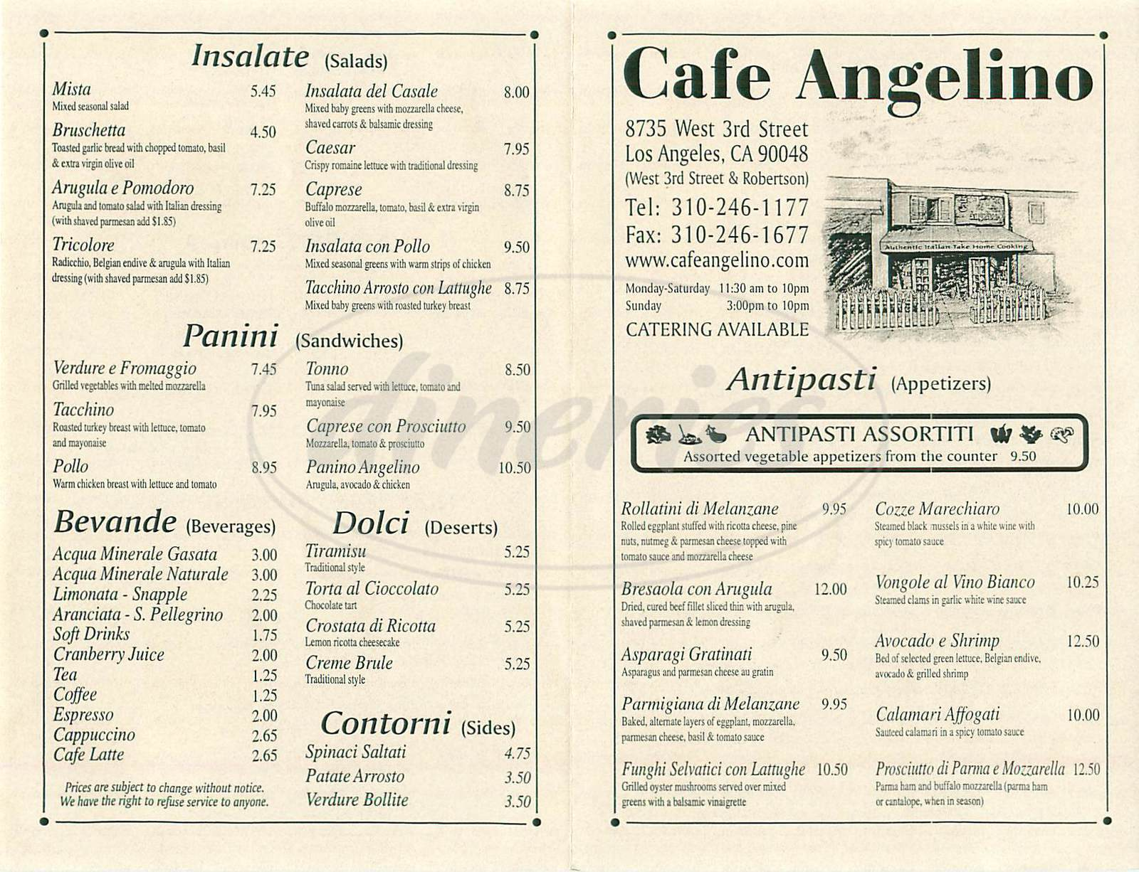 menu for Café Angelino