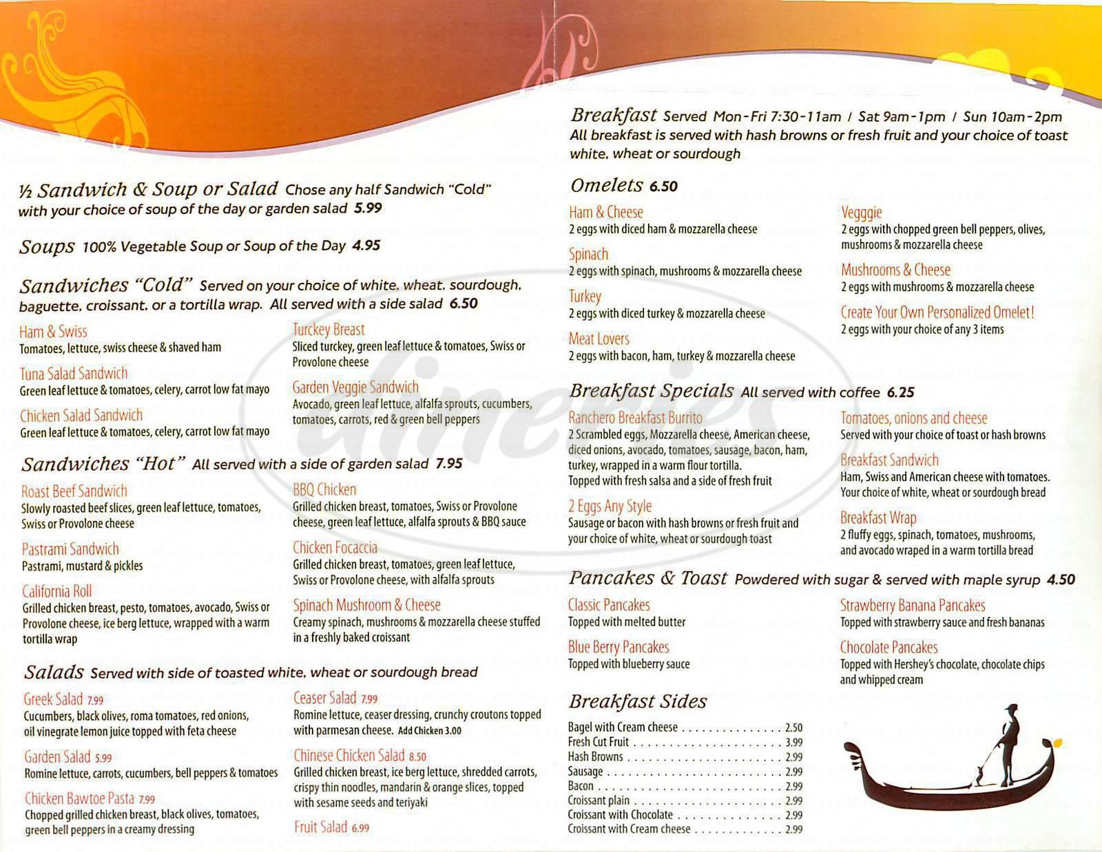 menu for Café Venezia