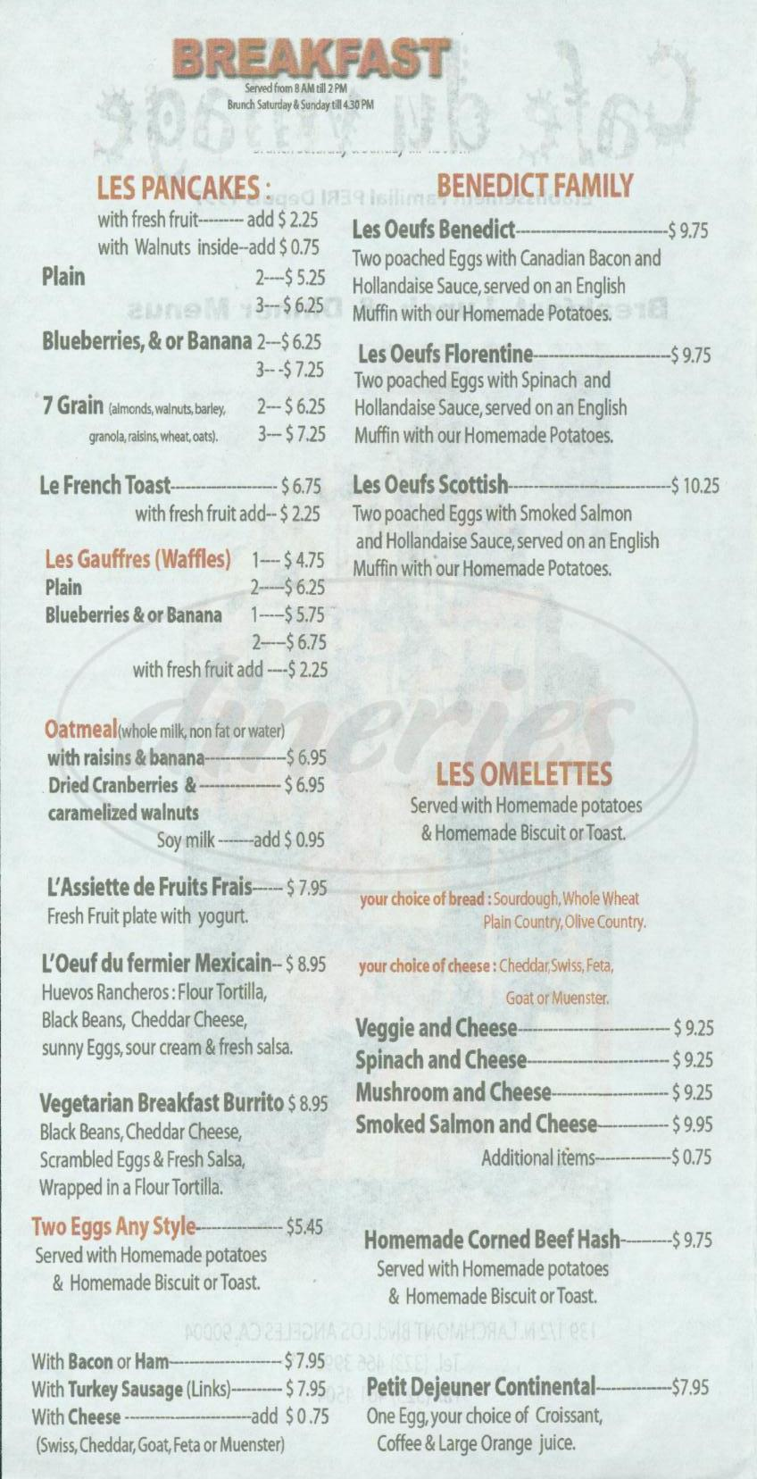 menu for Café du Village