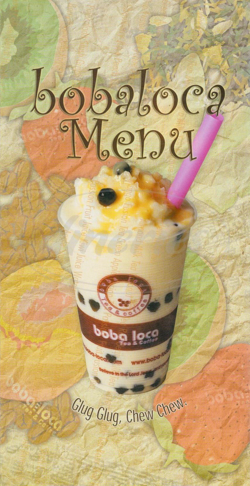 menu for Boba Loca