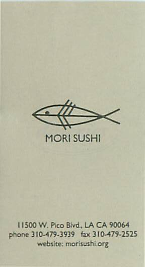 menu for Mori Sushi