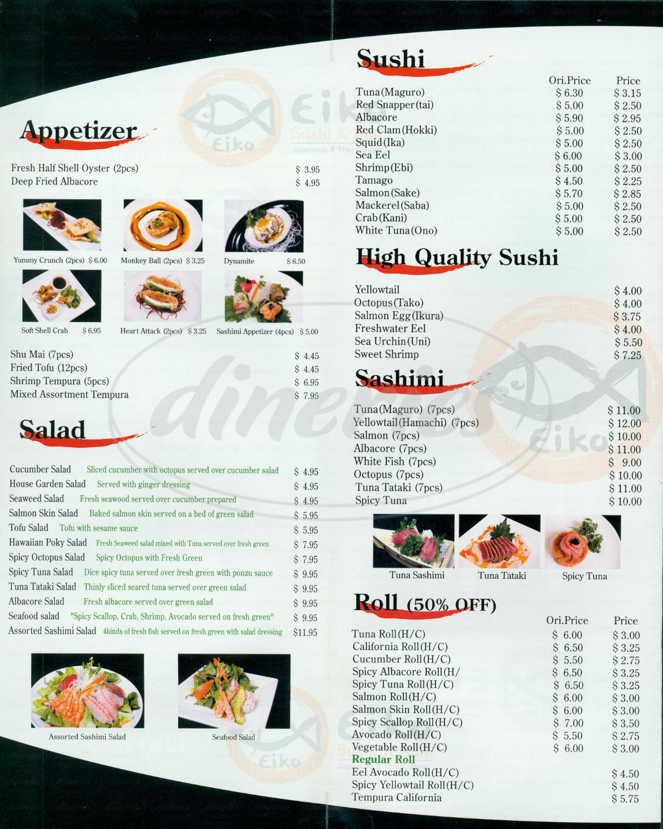menu for Eiko Sushi & Roll