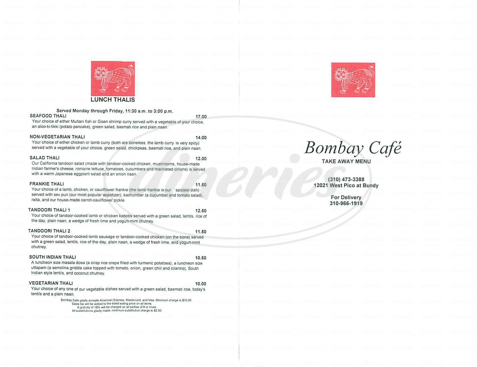 menu for Bombay Café