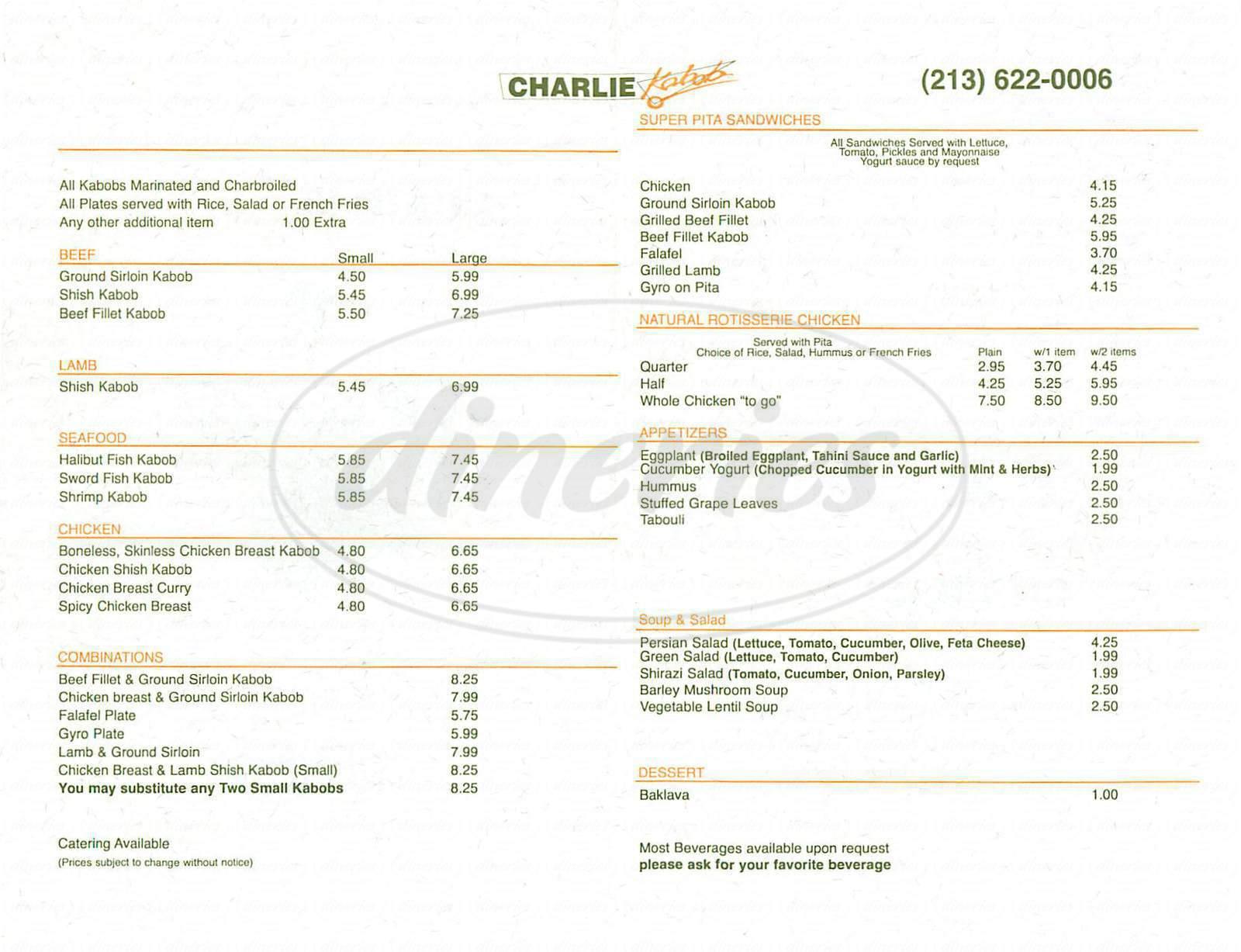 menu for Charlie Kabob