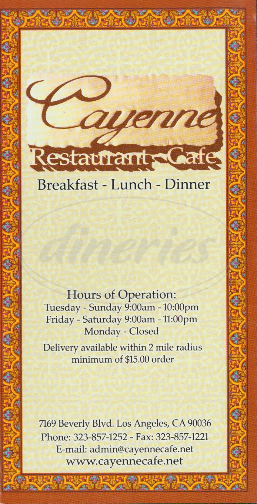 menu for Cayenne Café