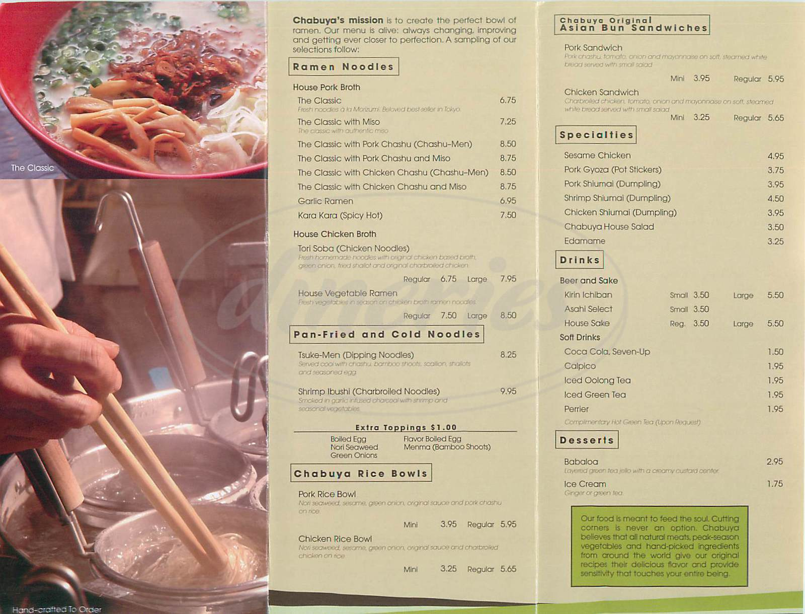 menu for Chabuya