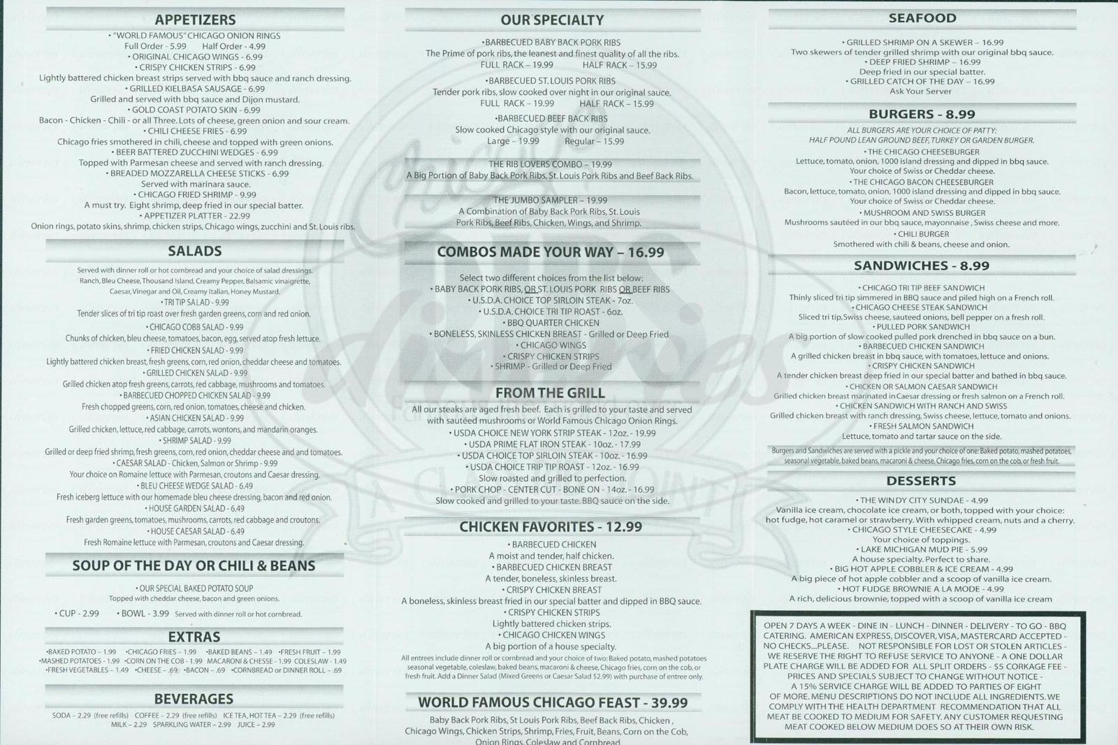 menu for Chicago for Ribs