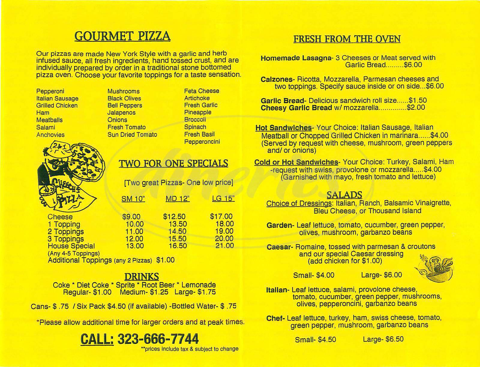 menu for Cheech's Pizzeria