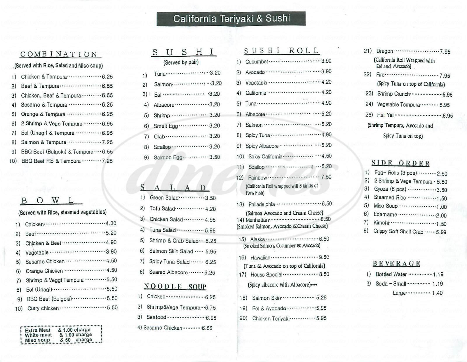 menu for California Teriyaki Bowl