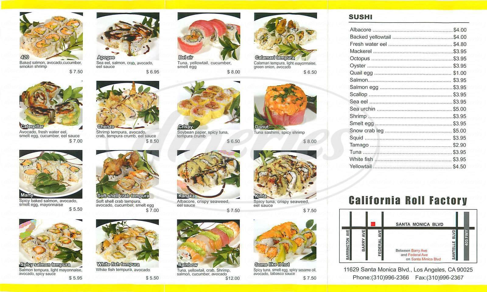 menu for California Roll Factory