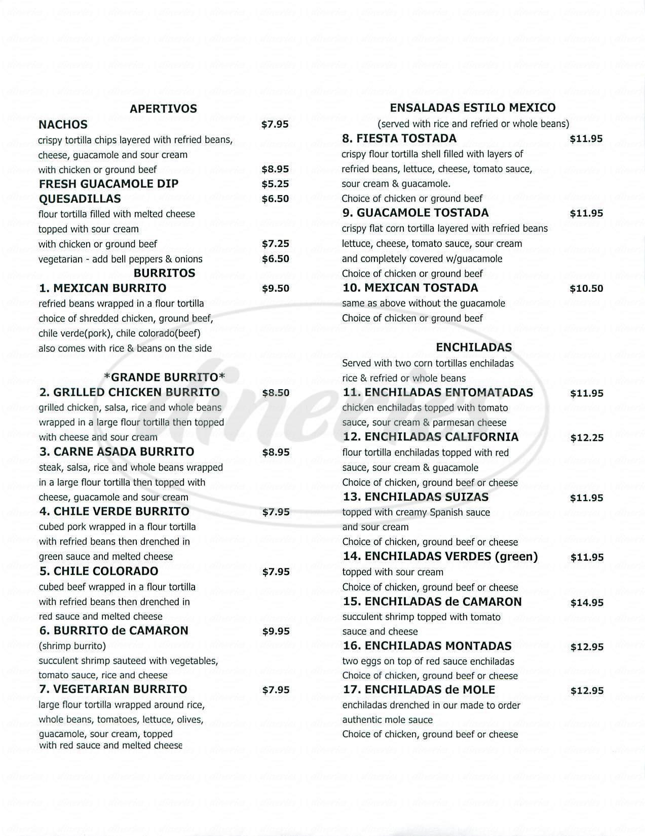 menu for Casa Lupe