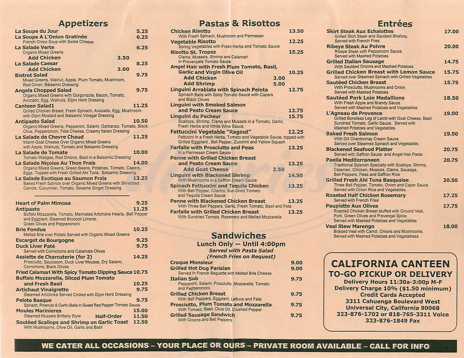 menu for California Canteen