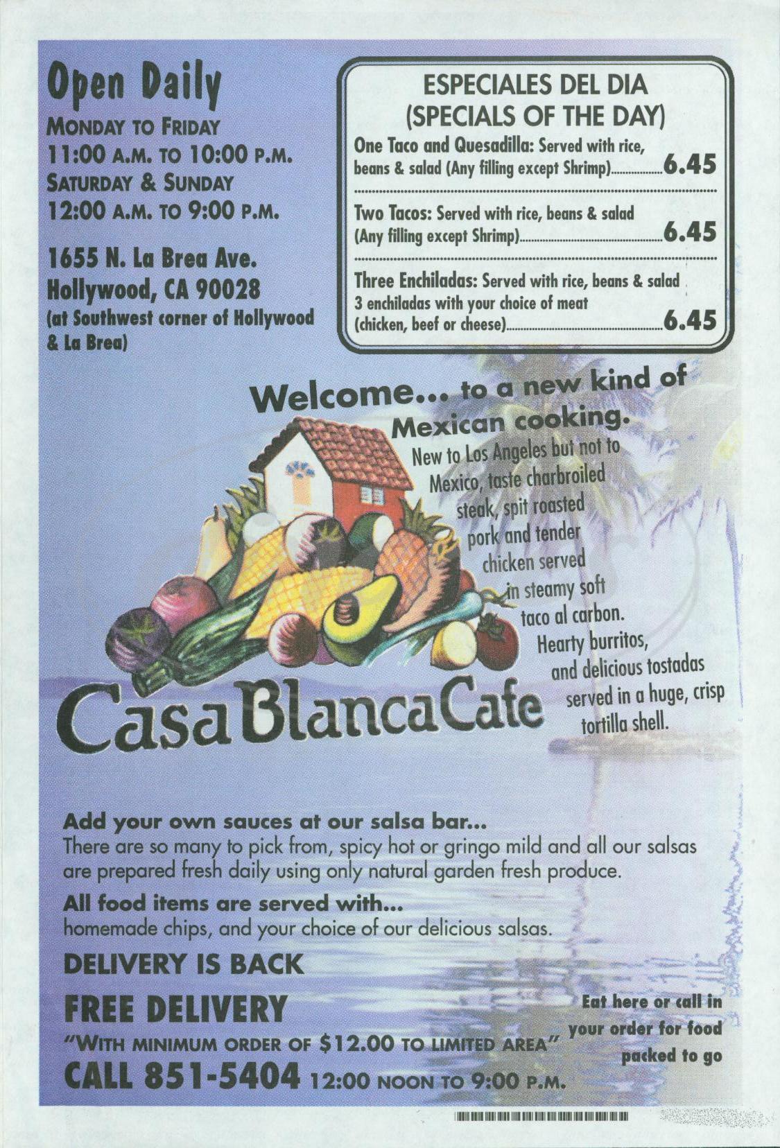 menu for Casa Blanca Café