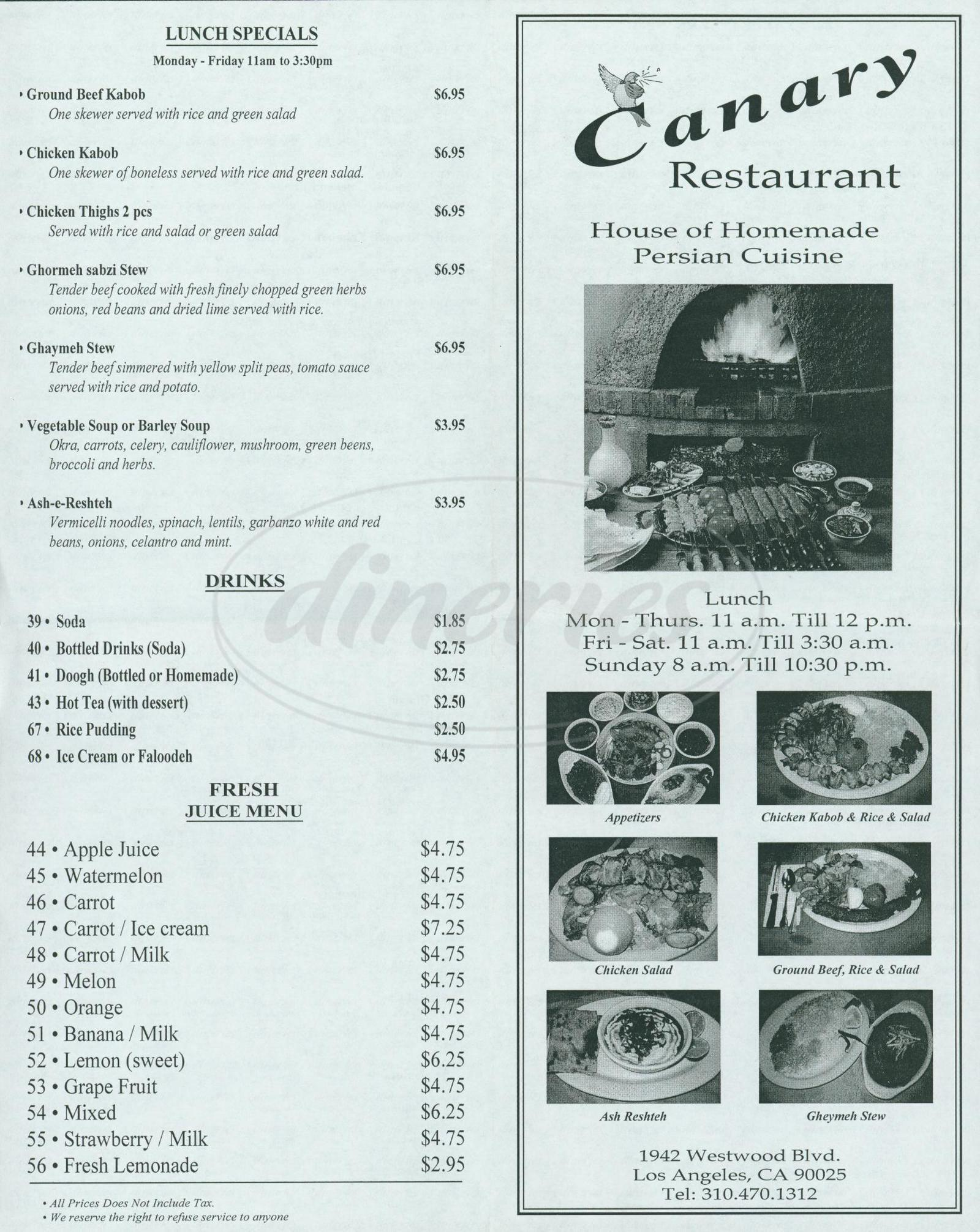 menu for Canary