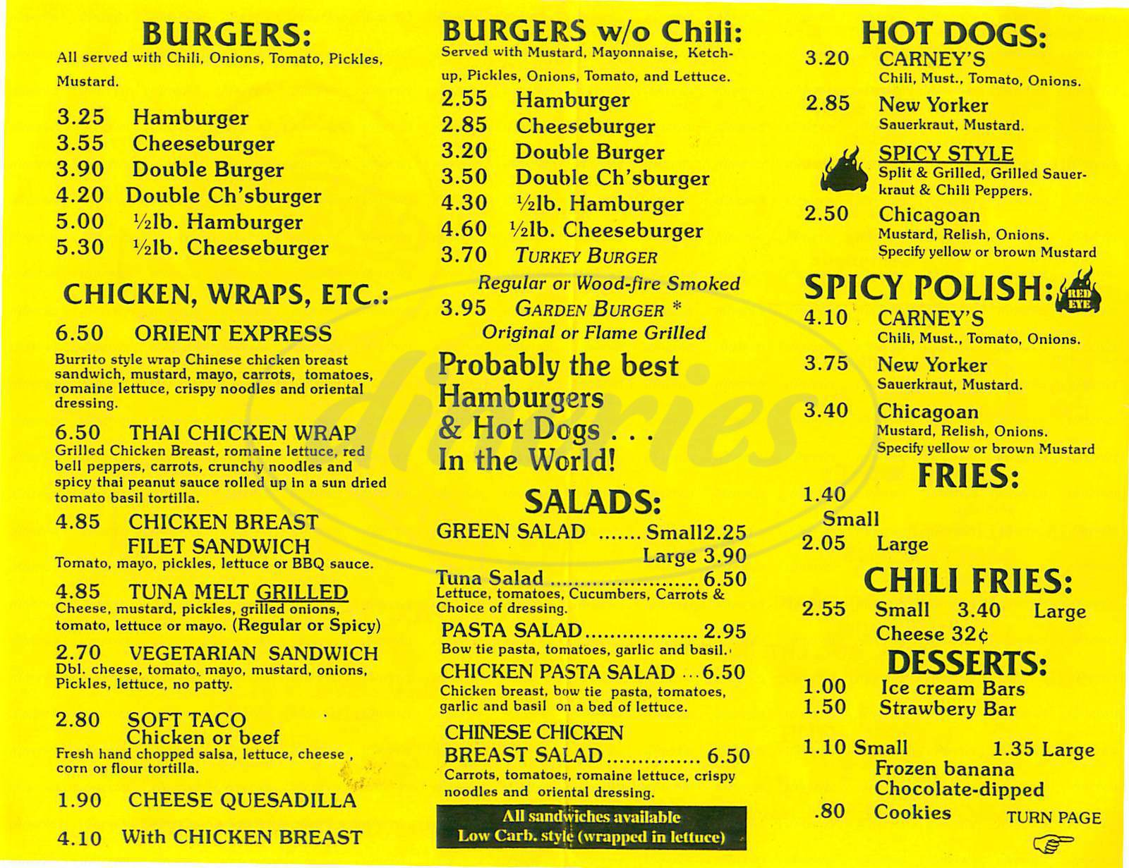 menu for Carneys Restaurant