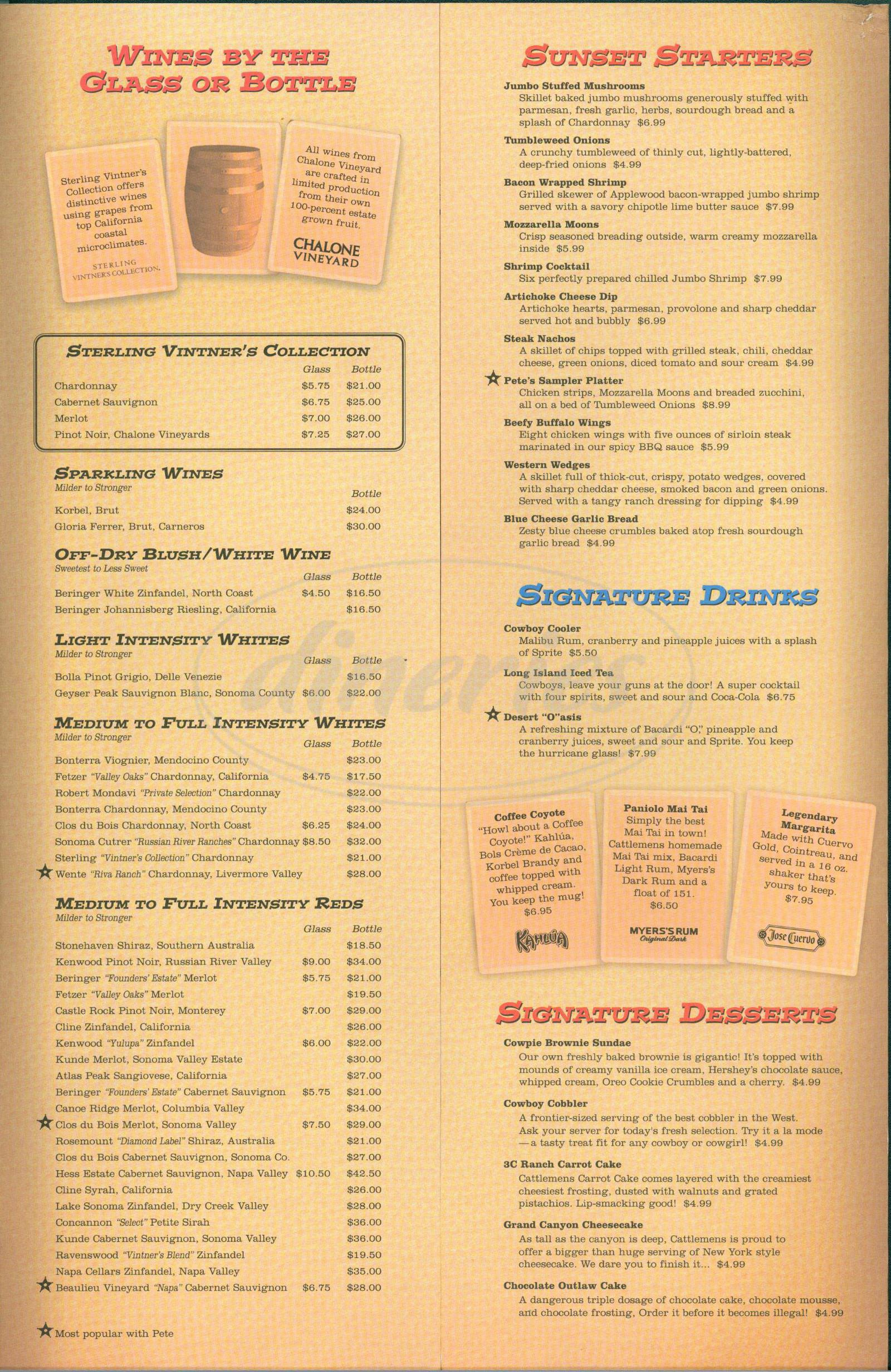 menu for Cattlemens Steak House