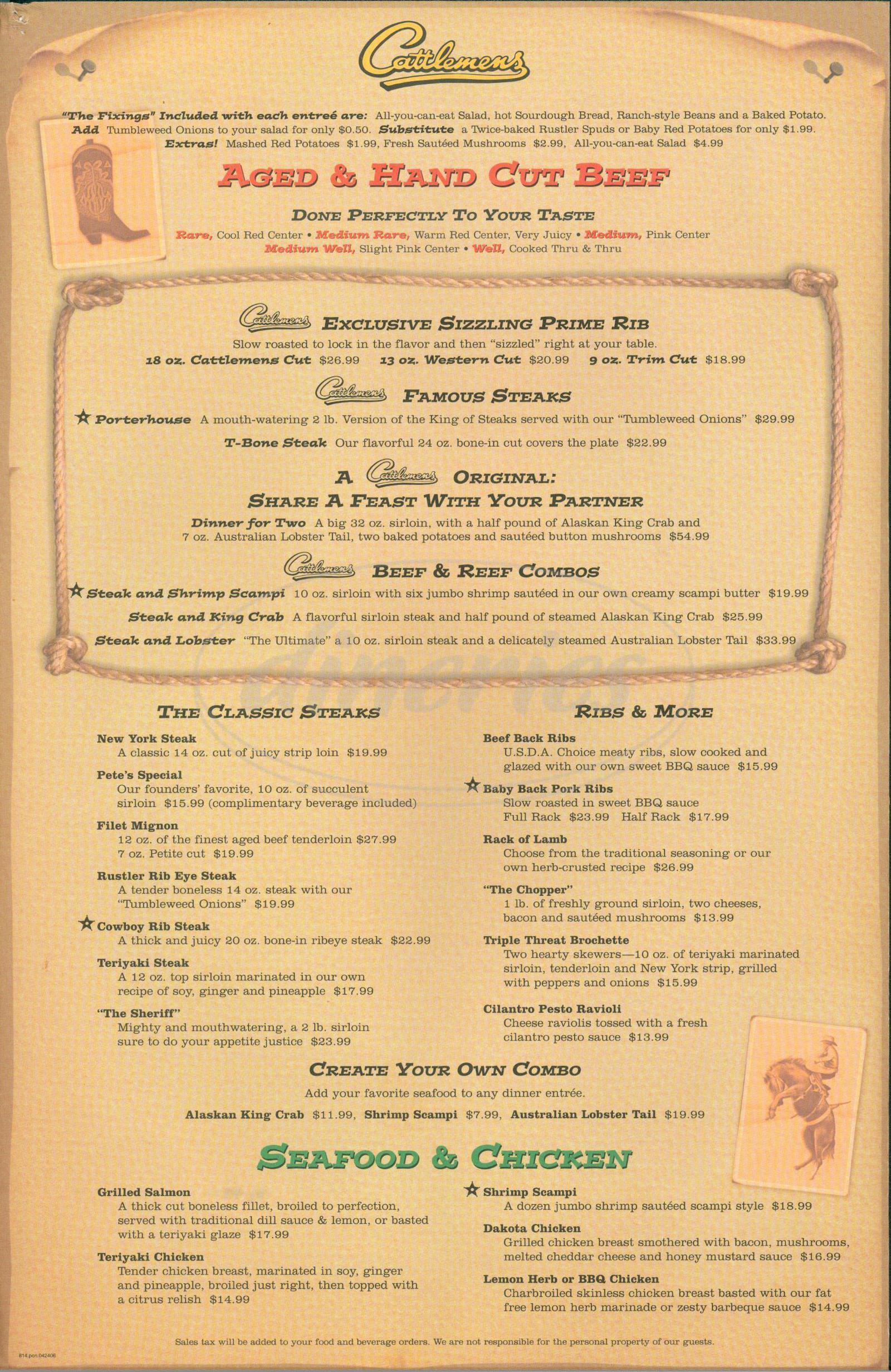 menu for Cattlemens Steak House