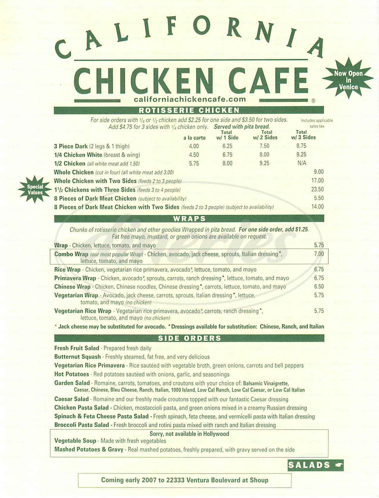 menu for California Chicken Café